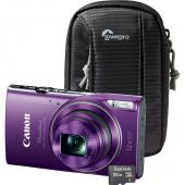 PowerShot ELPH 360 Digital Camera-Purple, Black Camera Pouch, and 16GB MicroSD Card